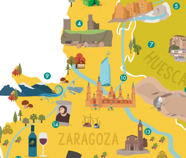 mapa ilustrado Viajar por Aragón – Turismo en Aragón, excursiones, tours y  mapa ilustrado